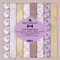 Paper Favourites - Gold Purple Roses - Paperpad 6x6