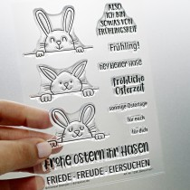 Klartext-Stempel - Eiersuchen - Clear Stamp Set 4x6