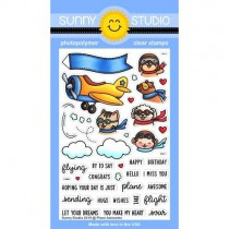 Sunny Studio - Plane Awesome - Clear Stamps 4x6