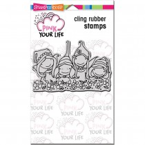 Stampendous! Pink Your Live - Whisper Wall 4x6 Cling Stamp Set
