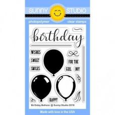 Sunny Studio - Birthday Balloon - Clear Stamps 3x4
