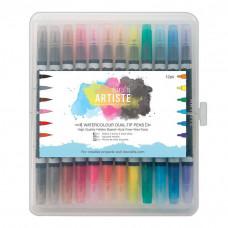 12 Alcohol Marker mit Brush und Rundkopf Spitze in bunten Regenbogenfarben
