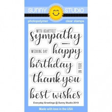 Sunny Studio - Everyday Greetings - Clear Stamps 3x4