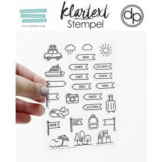 Klartext-Stempel - Strand, Wald, Stadt - Clear Stamp Set 4x6