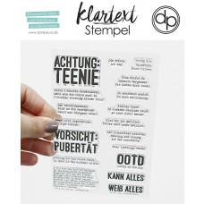 Klartext-Stempel - Achtung Teenie - Clear Stamp Set 4x6