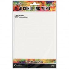 Ranger - Tim Holtz Alcohol Ink Yupo Papier - weiss - 5 x 7 Inch - 10 Seiten