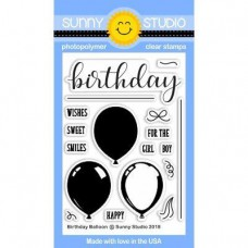 Sunny Studio - Birthday Balloon - Clear Stamps 3x4