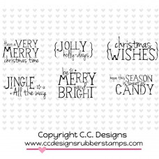 "C.C. Designs Logos Sentiments Cling Stamps 3.5""X3.5"" - Snowy Sentiments"
