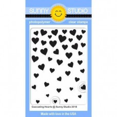 Sunny Studio - Cascading Hearts - Clear Stamps 3x4