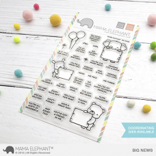 Mama Elephant - Big News - Clear Stamp 4x6