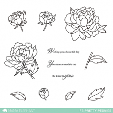 Mama Elephant - Pretty Peonies - Clear Stamp
