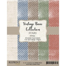 Reprint - Vintage Basic Collection - Stars - 6x6 Inch Paper Pack