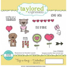 Taylored Expressions Cling Stamps 4x6 - Tag-A-Long Valentine 1/4