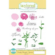 "Taylored Expressions Cling Stamps 5x8"" - Simply Stamped-Zinnias"