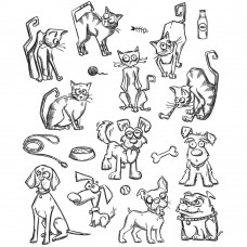 Stampers Anonymuous - Tim Holtz Collection Mini Cats & Dogs - Cling Stamps 7x8.5""
