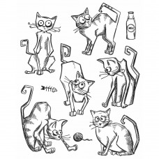 Tim Holtz - Crazy Cats - Rubberstamp 7x8.5