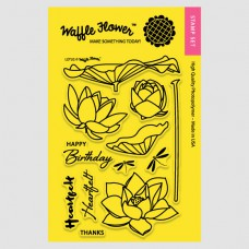 "Waffle Flower Crafts Clear Stamps 4""X6"" - Lotus"