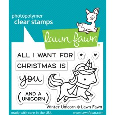 Lawn Fawn - Winter Unicorn - Clear Stamp 2x3