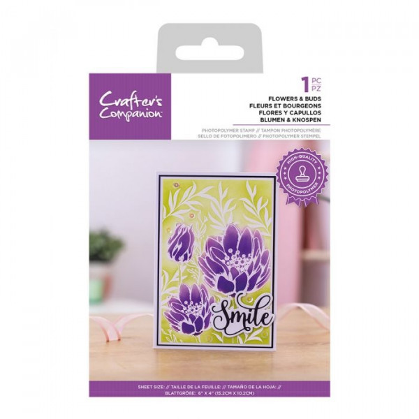 Crafter's Companion - Flowers & Buds - 4x6 Clear Stamp Set