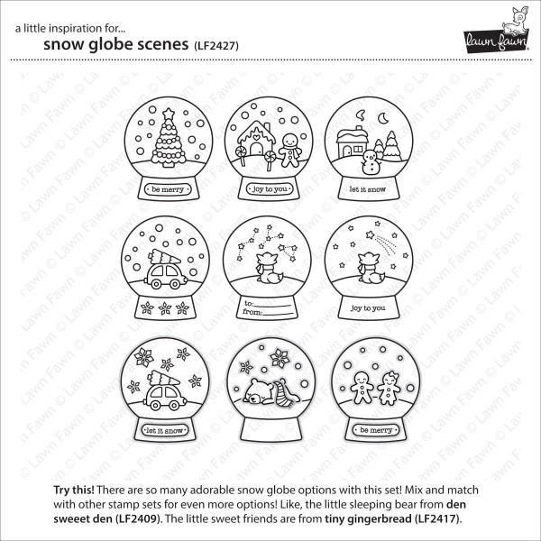 Lawn Fawn - snow globe scenes - Clear Stamp 4x6