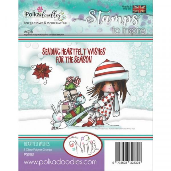 Polkadoodles - Clear Photopolymer Stamps - Winnie Heartfelt Wishes