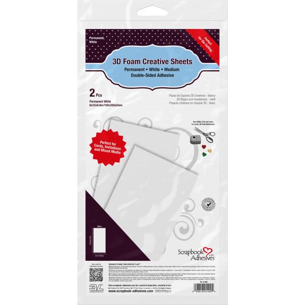 Scrapbook Adhesives - 3D Foam Creative Sheets Medium White - 2Stk