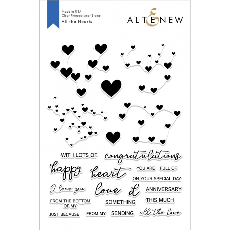 Altenew - All The Hearts  - Clear Stamp 6x8