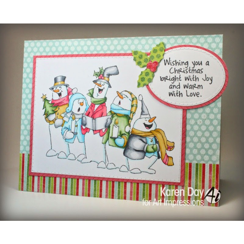 Art Impressions - Jolly Carolers - Rubberstamp Set