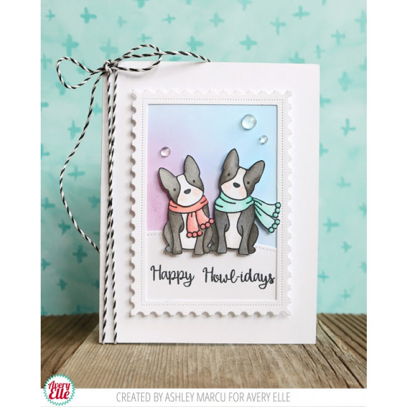Avery Elle - Happy Howl-idays Clear Stamps 4x6