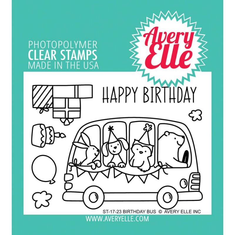 Avery Elle - Birthday Bus - Clear Stamp 3x4