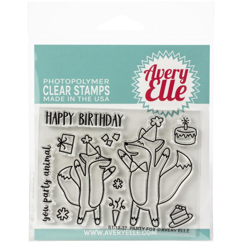 Avery Elle - Party Fox - Clear Stamps 3x4