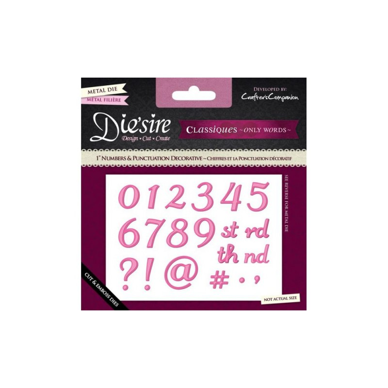 "Crafter's Companion Die'sire Classiques 1"" Number and Punctuation Dies - Decorative"