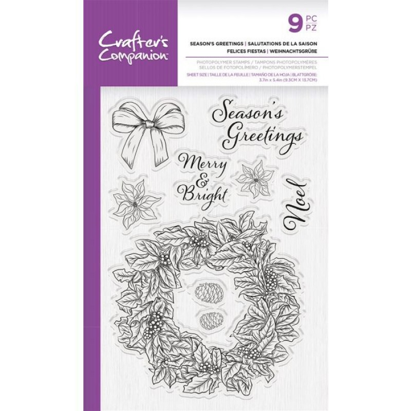 Crafters Companion - Stempelset - Seasons Greetings 4x6