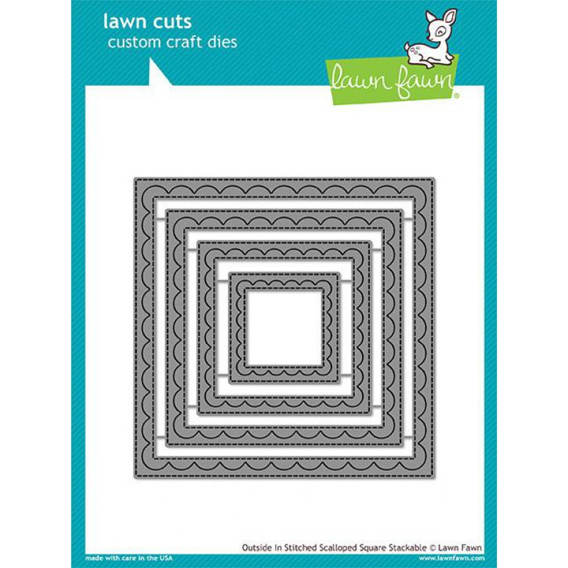 Lawn Fawn - Outside In Stitched Scalloped Square Stackables - Stanze