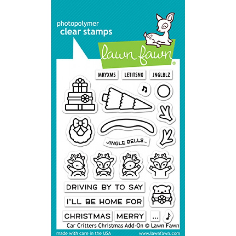 Lawn Fawn - car critters christmas add-on - Clear Stamp 3x4