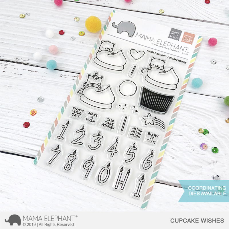 Mama Elephant - Cupcake Wishes - Clear Stamp 4x6