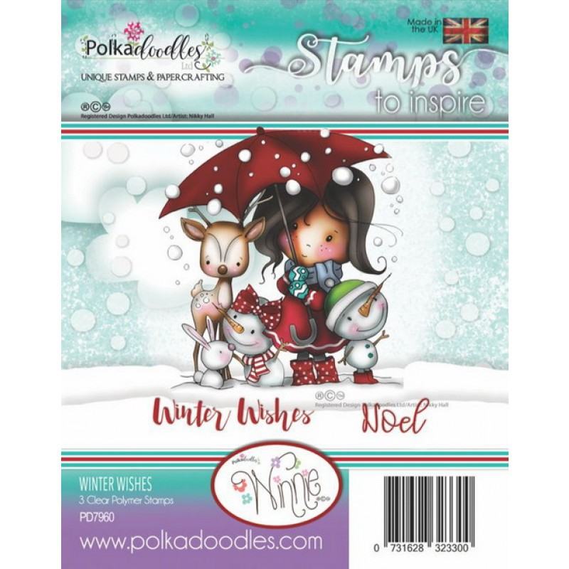 Polkadoodles - Clear Photopolymer Stamps - Winnie Winter Wishes