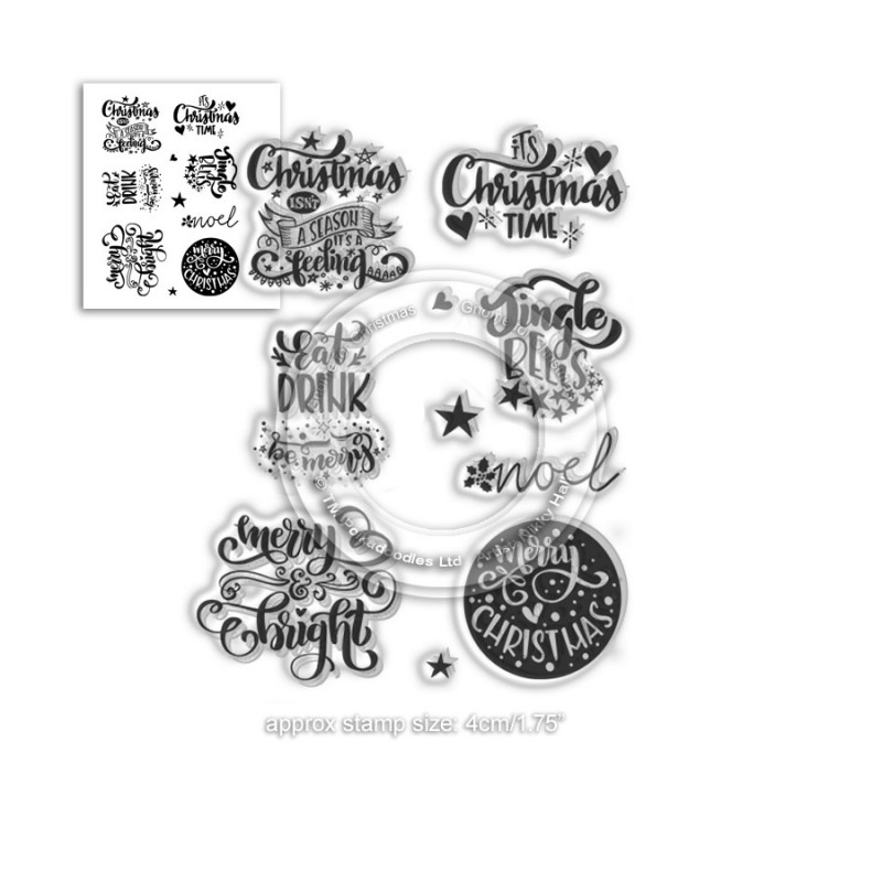 Polkadoodles - Clear Photopolymer Stamps - Merry and Bright Christmas Greetings