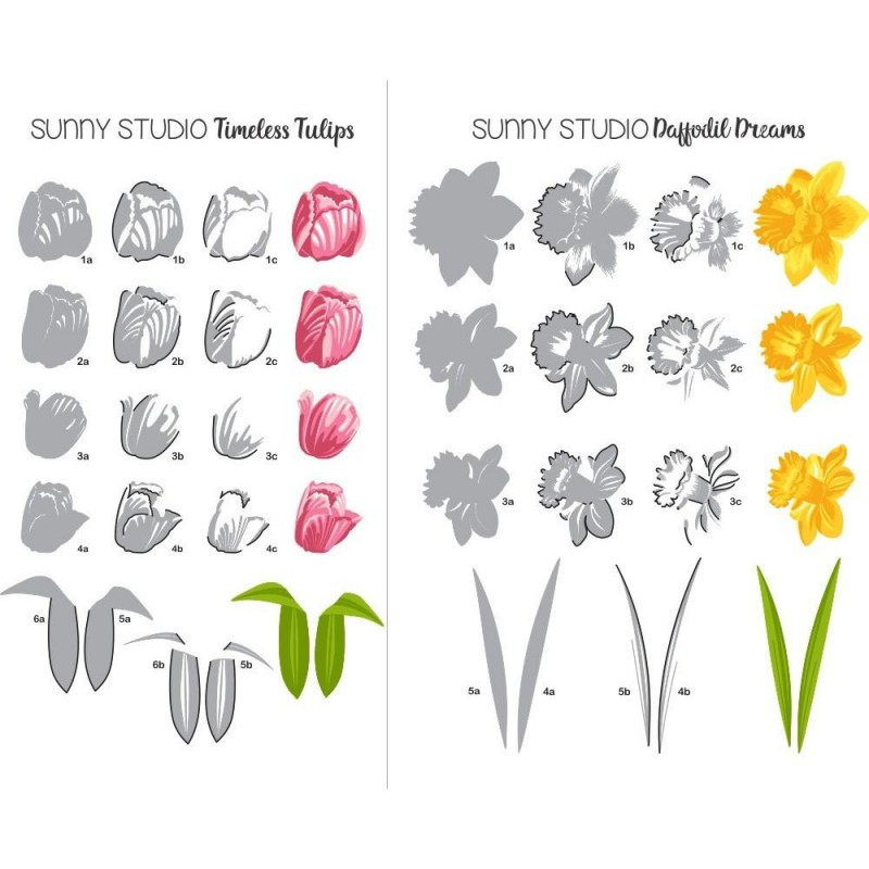 Sunny Studio - Timeless Tulips - Clear Stamps 4x6